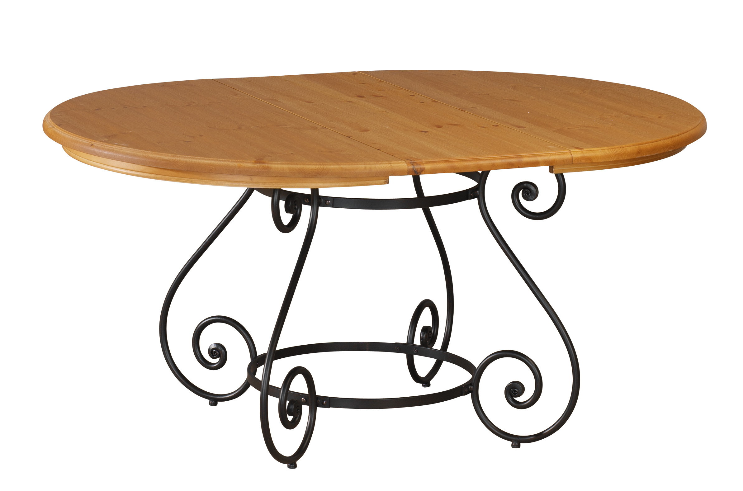 Table ronde fer forg et bois table de lit for Table bois pied fer forge